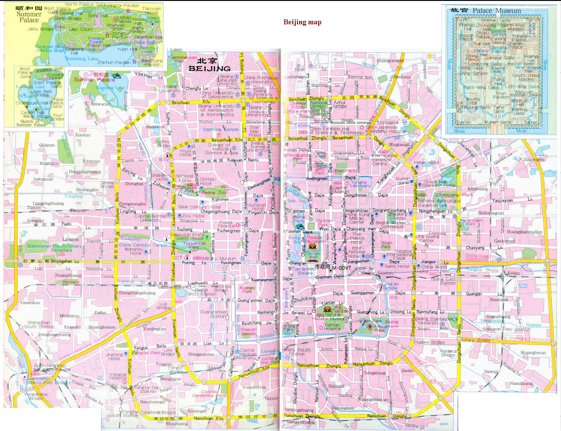 Beijing Maps provide different types maps of Beijing to tell you the locations of Beijing, the Beijing attractions addresses, the transportation situations in Beijing, etc. will be the essential tools to arrange Beijing tours.